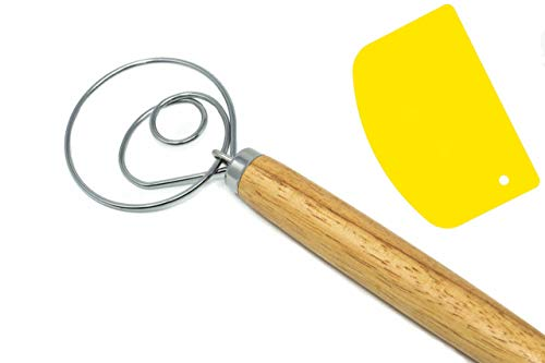 Torwood Danish Dough Whisk Large 135 inches Stainless Steel Wooden Dutch Style Hook for Baking Loaves Pastries and Pizza comes with a Dough Scraper