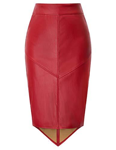 GRACE KARIN Falda de Mujer Falda Tubo Cremallera de Cuero Parte Trasera Cruce de Billetera Frente a la Cintura Ajuste para el Trabajo Rojo 2XL DECL0025-2