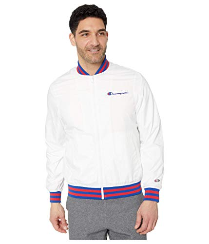 Champion LIFE Men's Satin Baseball Jacket, White/Surf The Web, Medium