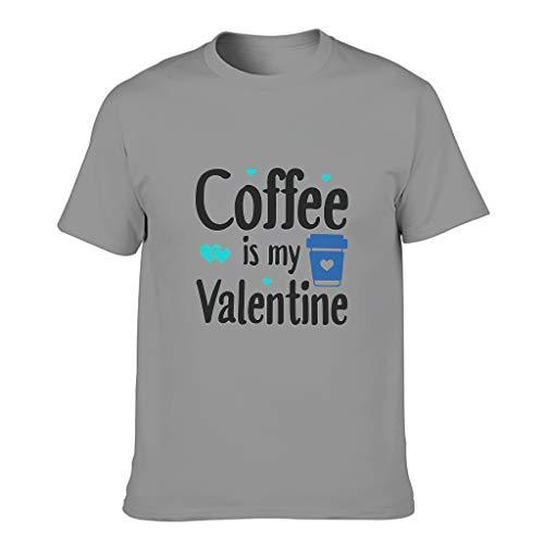 Camiseta de algodón para hombre, diseño con texto en alemán 'Kaffee ist Mein San Valentín' Gris oscuro. S