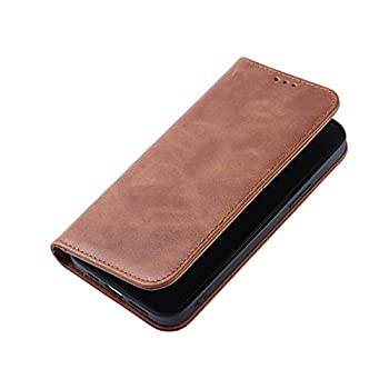 Leather Wallet Case for iPhone 12 or Pro  Real Cowhide Leather  - Retro Oil Wax Leather Flip Folio Case Cover with Credit Card Holder for iPhone 12 or Pro Brown