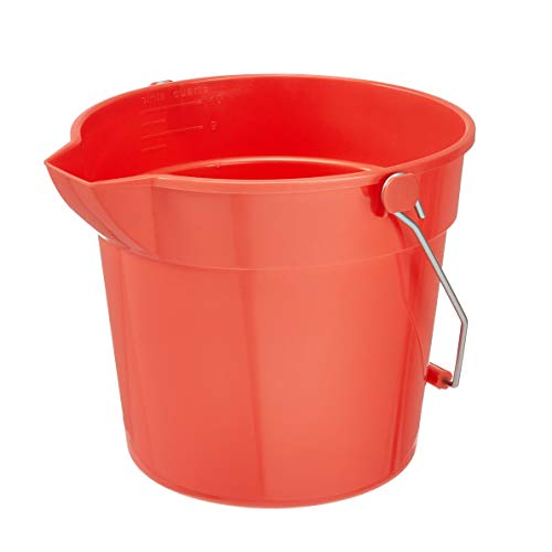 AmazonCommercial 10 Quart Plastic Cleaning Bucket, Red - 6-pack