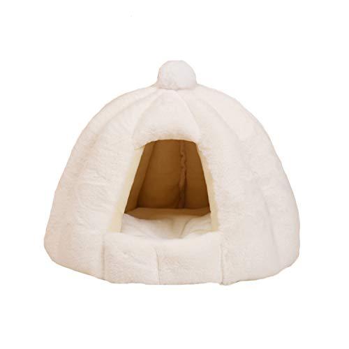 MOGU(JP)ハウス 猫 寝袋 冬用 ペット用寝袋 ペット用品 多機能 ベッド マット 兼用 保温防寒 快適 柔らかい 人気 可愛い ふわふわ 暖かい ソフト 冬寒さ対策 洗える 滑り止め 小型犬 6色展開 ホワイト ピンク ホワイト 48*40CM