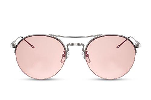 Cheapass Occhiali da Sole Rotondi d'Argento Rosa UV400 Metallo