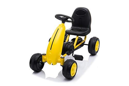 PLAY4FUN Kart a pédales Deluxe pour Enfant (dés 18 Mois) Jaune, 4 Roues - 63L x 33l x 40H cm Véhicule à pédales, Karting