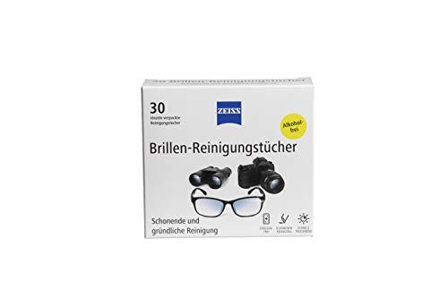ZEISS Brillen-Reinigungstücher (1 x 30 Stück), alkoholfrei, zur schonenden & gründlichen Reinigung Ihrer Brillengläser