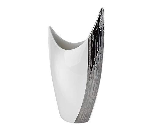 Formano Deko Vase Banyue aus Keramik, Höhe ca. 30 cm, Weiß-Silber Edelweiss, Moderne Form