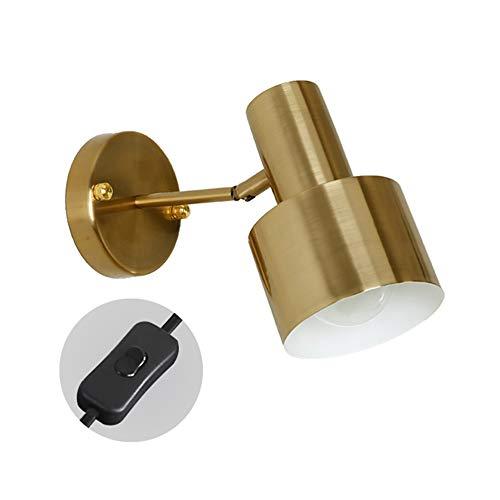 Vinteen Chapado de lámpara de oro lámpara de noche lámpara de pared sencillez simple cabeza pared luz japonés al lado de la cama de la cama lámpara de pared espejo de baño lectura aprender trabajos il