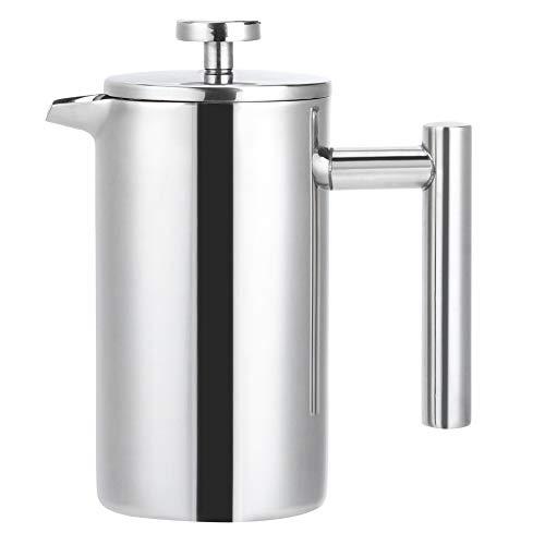 Evonecy Cafetera, hervidor de Agua para cafetera, Prensa de Acero Inoxidable de Dos Pisos, Duradero para café, té