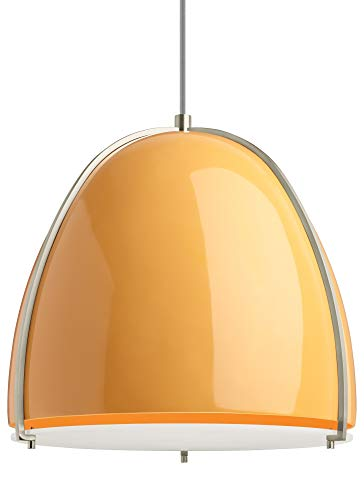Contemporary Paravo Pendant Line-Voltage Pendants/Suspension in Tangerine/Satin Nickel with Fiberglass