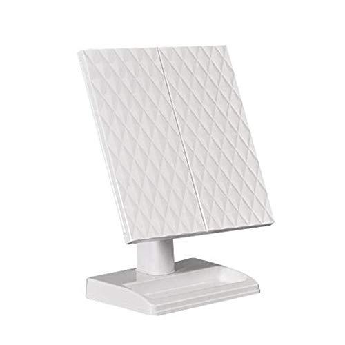 REMIGHTELY Bright LED Miroir de Maquillage portatif HD, Miroir de Bureau, lumière de Jour Naturelle, luminosité Variable au Toucher, Loupe 2X3X, Miroir Pliant Rotatif (Couleur : Blanc)
