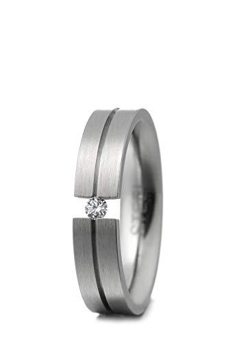 Heideman Ring Damen Verlobungsring aus Edelstahl Silber farbend matt Damenring für Frauen mit echtem Stein Brillant 0,05 Karat im Brillant Schliff 2,5mm