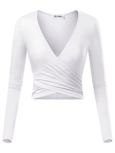 VETIOR Women's Deep V Neck Long Sleeve Shirts Unique Cross Fashion Tops Wrap...