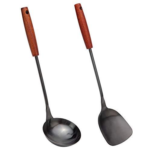 Wok Spatel-Löffel Kellet aus Pfannenwender und Schöpflöffel aus 304 Edelstahl, 36,2-38,1 cm