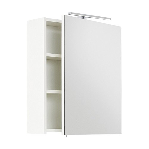 Lomadox Badezimmer Spiegelschrank in weiß, 55cm Breite, mit LED-Aufbauleuchte, Schalter und Steckdose, Made in Germany