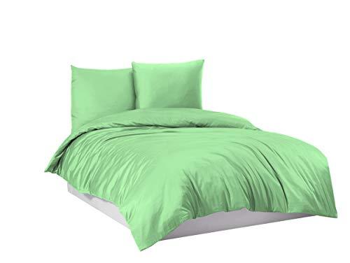 Ropa de cama Mako Maco Satén Algodón Satén Ropa de cama Funda nórdica 155 cm x 220 cm, Color Verde Claro