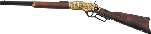 Denix 1873 Engraved Lever Action Rifle, Gold Finish - Non-Firing Replica