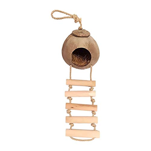 Birdhouses/Bird Cage Bird House Pet Habitat 100% Eco-friendly Material Beautiful Nesting Nest Natural Coconut Shell Natural Texture Bird Cages for Small Birds (Color : E)