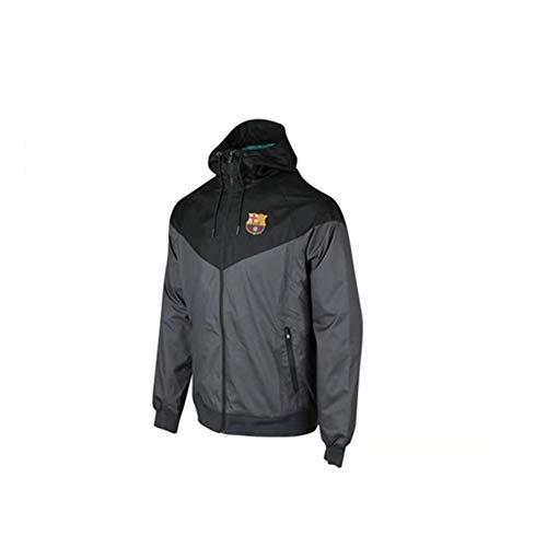 Men Football Training Jacket Barcelona Windbreaker Sun Protection Suit Windbreaker Coat Sportswear Spring Black