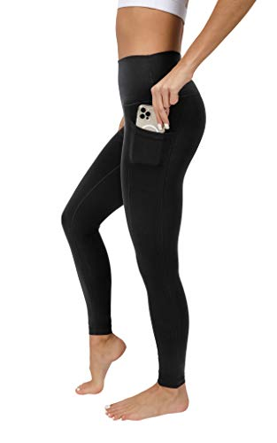 90 Degree By Reflex High Waist Cotton Elastic Free Cloudlux Ankle Leggings with Side Pocket - Black - Large