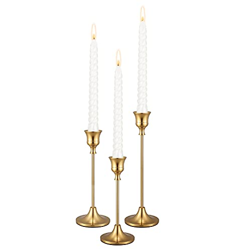 PNAVMG Gold Candlestick Holders Taper Candle Holder - Set of 3 Pcs Brass Gold Candle Stick Holder Centerpieces Decorations for Table, Mantel, Wedding, Dinning, Party(Candles not Include)