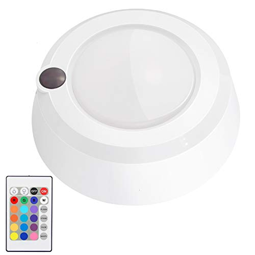 LUXSWAY Battery Powered Ceiling Light, Dimmable Shower Light with Remote, 16 RGB Colored Changing Mood Light, Wireless Overhead Light for Shower Bedroom Bathroom Closet Hallway -300Lumen 5.67In