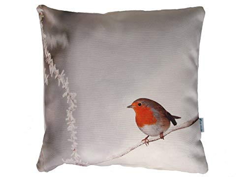 Rotkehlchen Vogel Kissen, 40x40 cm Hülle, Baumwolle, Natur, Tier Motiv, Deko, Sofa, Garten