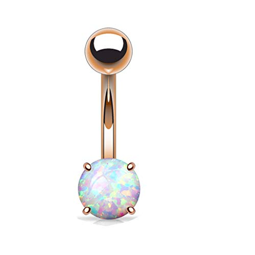 14k Gold Plated Opal Prong Set Belly / Privates barbell (316L) Surgical Steel Plated Belly Navel Ring (Rose gold)