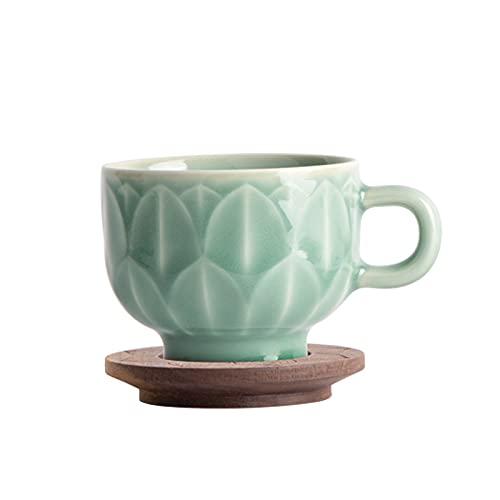 RROWER Tazas de té de Porcelana de Taza de Budismo Hechas a Mano con el Modelo de Loto por la Tarde de la Tarde de la Tarde de Celadon Tazas de Taza de café Conjuntos con asa,Bronce