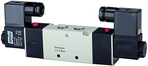 Riegler 5/2-Wegeventil, elektropneumatisch, »4V«, bistabil, M5, 230 V, 50 Hz, Betriebsdruck 1,5-8 bar, Temp. -20 °C bis 70 °C, 300l/min