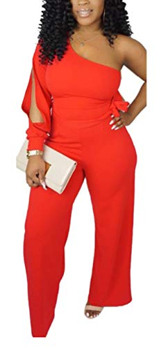 Aro Lora Women's Sexy One Shoulder Slit Sleeve High Waist One Piece Pant Outfit Wide Leg Jumpsuit Romper X-Large Red