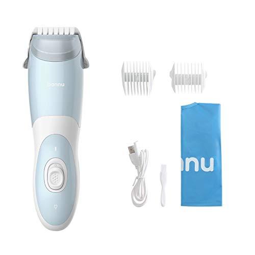 Automatische Saug-Haarschneider, Wasserdicht Cordless Baby-Haar-Scherer, Mute Haartrimmer Grooming Kit (Color : White Blue)