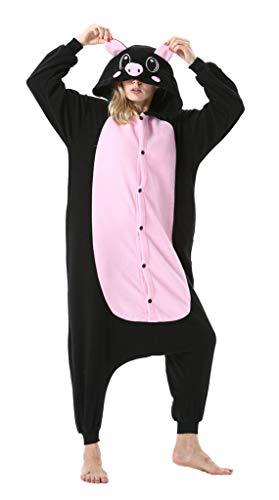 SAMGU Tier Onesie Pyjama Cosplay Kostüme Schlafanzug Erwachsene Unisex Animal Tieroutfit tierkostüme Jumpsuit Schwarzes Schwein L