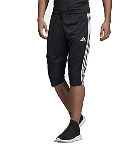 adidas Men's Tiro 19 3/4 Length Training Pants, Black/White, L