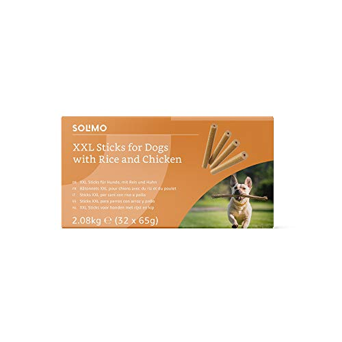 Marca Amazon - Solimo - Treats para perros: pollo y arroz, stick dentales sin aromatizantes artificiales (32 piezas x 65 gr)
