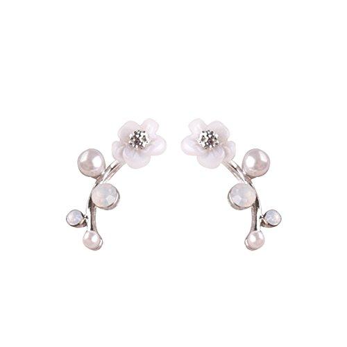 Kanggest Pendientes de Mujer Pendientes de Perlas de Flor de Rama de Flor Moda Muchachas de Las Mujeres Pendientes de Boton Estilo para Mujeres de la Joyería Accesorios (Plata)