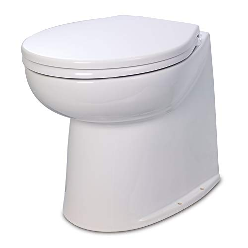 Jabsco 58240-2012 , Deluxe Flush Marine Head, 17 inch Electric Marine Toilet, Straight Back, Raw Water Rinse, 12 Volt
