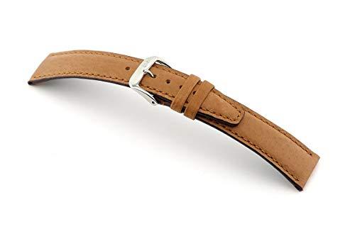 RIOS1931 Correa de reloj para hombre Tobacco Mod. 38, piel de cerdo auténtica, ancho 20 mm, longitud 114/82 mm, color coñac