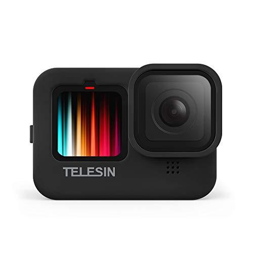 TELESIN Funda de silicona para GoPro Hero 9 Black,Hero 9 Funda y cordón con tapa de objetivo (negro)