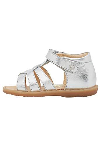 Naturino NOOMI-T-Steg-Sandale aus Metallic-Leder Silber 20
