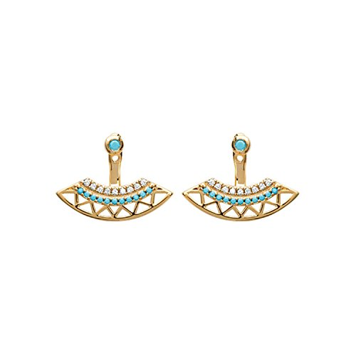 Ohrringe, vergoldet, Zirkonia und Steine Türkis–Inca Azteken vor/hinter