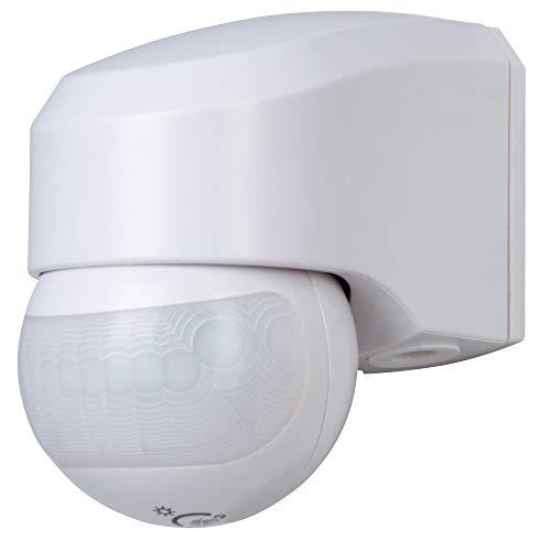 Kopp Infracontrol Bewegungsmelder I 180 Grad Außenleuchte mit Bewegungs-Melder I IP44 Außen-Beleuchtung als Einbruchschutz I Infrarot Präsenzmelder Aufputz für Außen und Innen I Weiß - 823802014