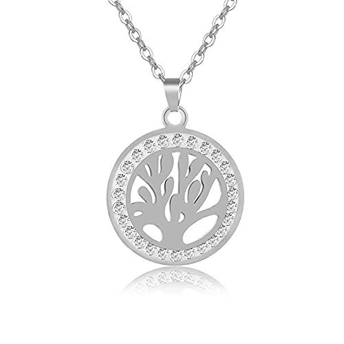 Nuevas etiquetas de cristal Collares de árbol de la vida Joyas de acero inoxidable para mujeres Color dorado / acero Cadena de collar feliz Bijoux-Steel_50CM