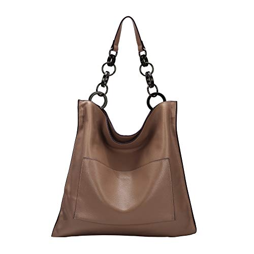 [Dimensions&Materials]:40L*1H*40W(cm).Top Layer Cowhide Soft Genuine Leather Handbags for Ladies. [Hardware & Lining &Closure]: Genuine Leather Handbags for Women is made by top quality golden hardware. Light color interior polyester lining. Zippered...