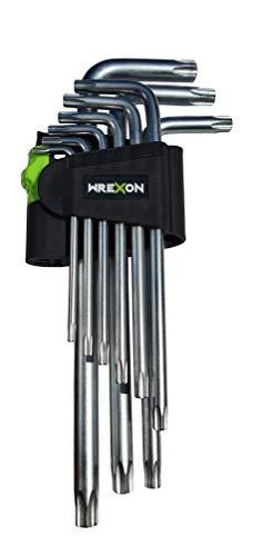TX schlüssel set-Wrexon-Professioneller Schlüsselset mit gummiertem, abschließbarem Griff - Hochwertiges Edelstahlset, bestehend aus 9 Elementen.