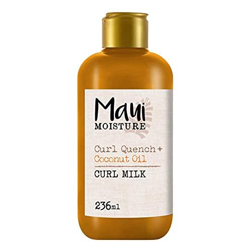 Maui Moisture, Crema de Aceite de Coco para Rizos Curl Milk, Define y Desenreda el pelo Rizado, 236 ml