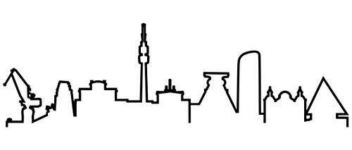 Samunshi® Ruhrgebiet Skyline Wandtattoo Silhouette Ruhrgebiet schwarz 120x35cm