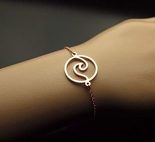 Armreifen Welle Wasser Strand Kreis rund See Meer maritim Armband Armkette rosé golden Juvelato