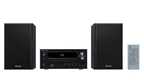 Pioneer X-HM26D Microsystem mit Zweiwege-Boxen (15 W/Kanal, Bluetooth, FM-Radio, DAB+, CD-MP3-USB, Fernbedienung, Timer- und Weckfunktion) Schwarz