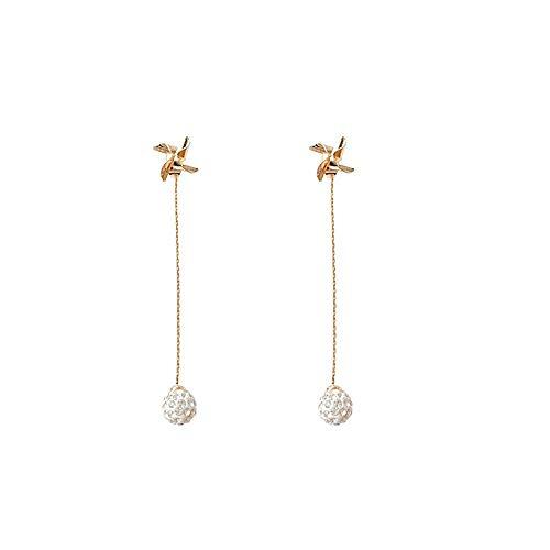 Pendientes colgantes colgantes de plata con forma de molino de viento y bola de diamante con borla para mujeres y niñas